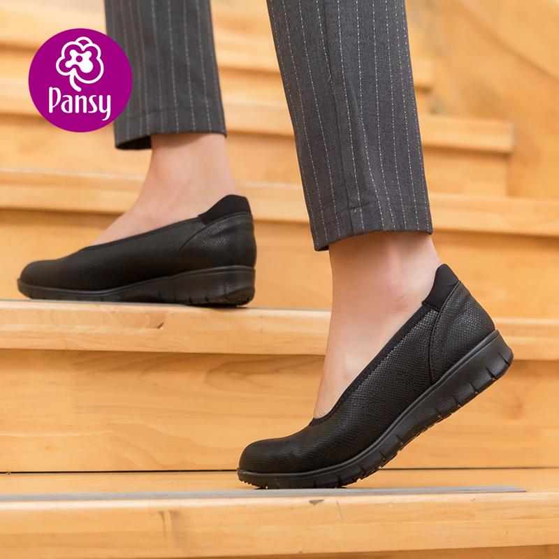 黑色坡跟鞋 Pansy日本2021春秋坡跟女单鞋春秋黑色通勤鞋舒适浅口休闲鞋4307_推荐淘宝好看的黑色坡跟鞋