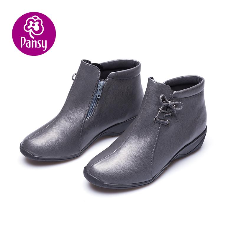短靴 Pansy盼洁冬季短靴子女坡跟妈妈靴 坡跟防滑绑带蝴蝶结女鞋4626_推荐淘宝好看的女短靴