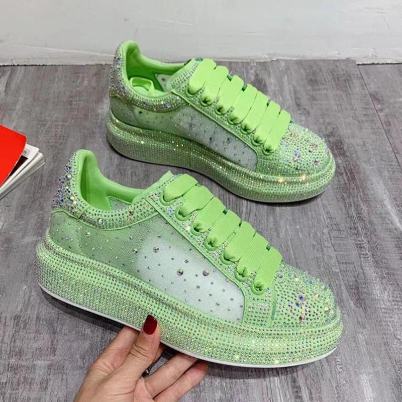 绿色松糕鞋 绿色鞋子女夏麦昆达小白鞋荧光绿水钻网纱透气增高厚底松糕鞋麦坤_推荐淘宝好看的绿色松糕鞋