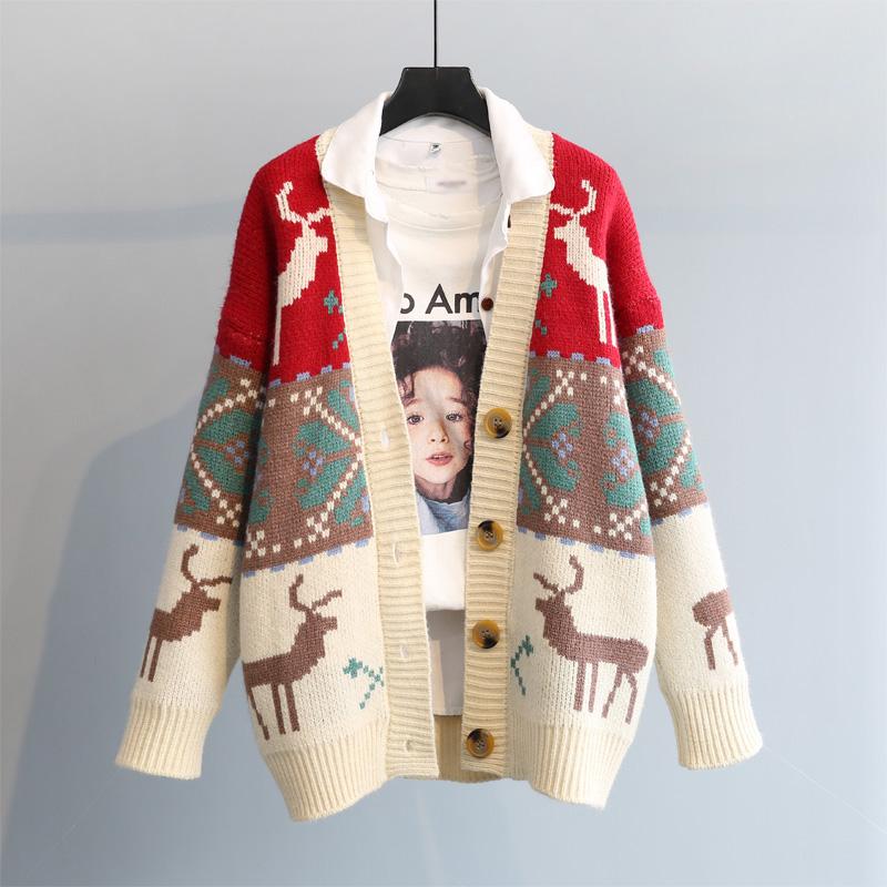 红色针织衫 毛衣开衫外套女2021春季新品韩版宽松厚新年红色小鹿提花复古针织_推荐淘宝好看的红色针织衫