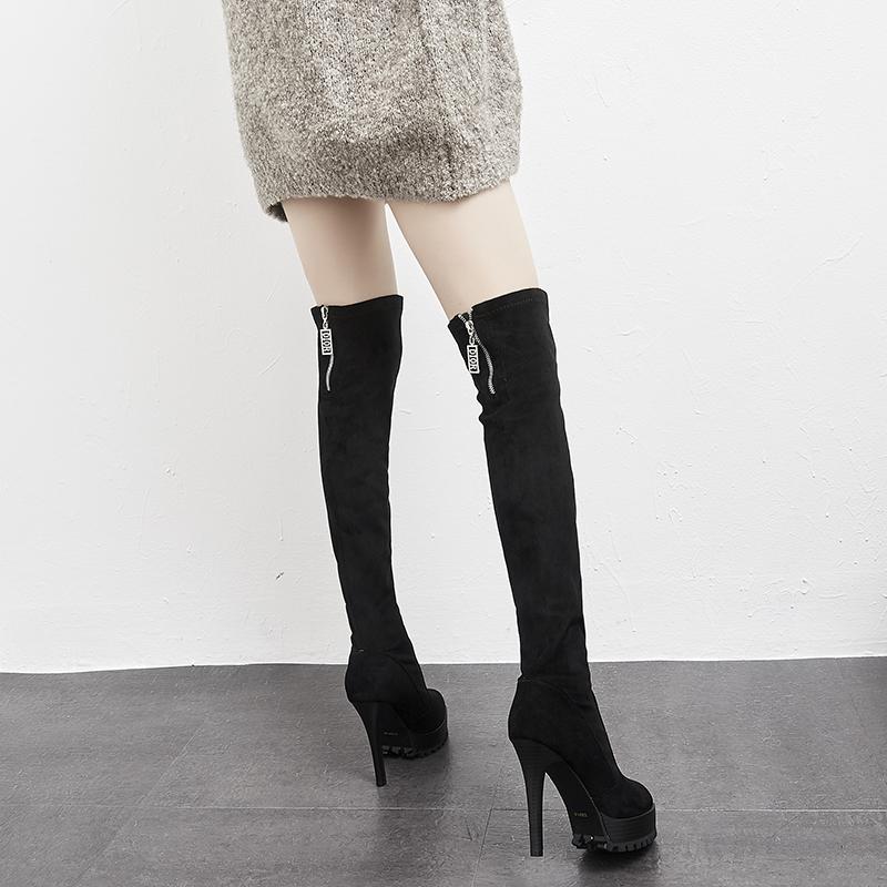 靴子 正品后拉链过膝靴子女冬细跟11cm防水台黑色绒面弹力瘦瘦靴百搭潮_推荐淘宝好看的女靴子