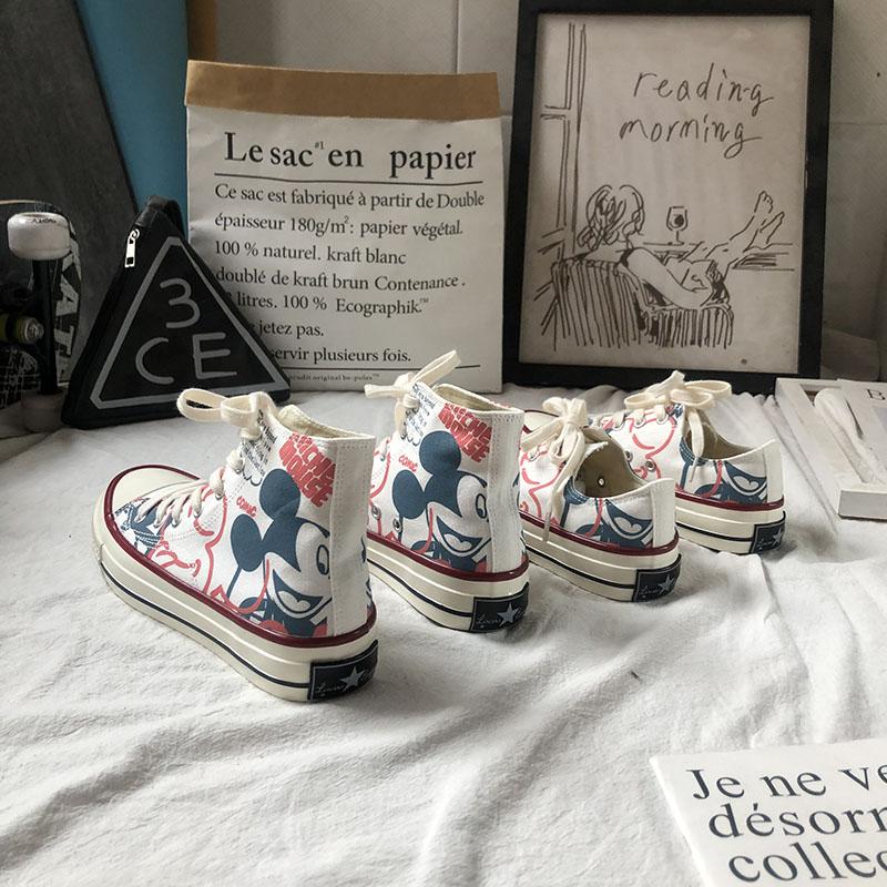 手绘帆布鞋 印花涂鸦米奇帆布鞋女韩国学生手绘嘻哈平底小白鞋山本风街舞板鞋_推荐淘宝好看的女手绘帆布鞋