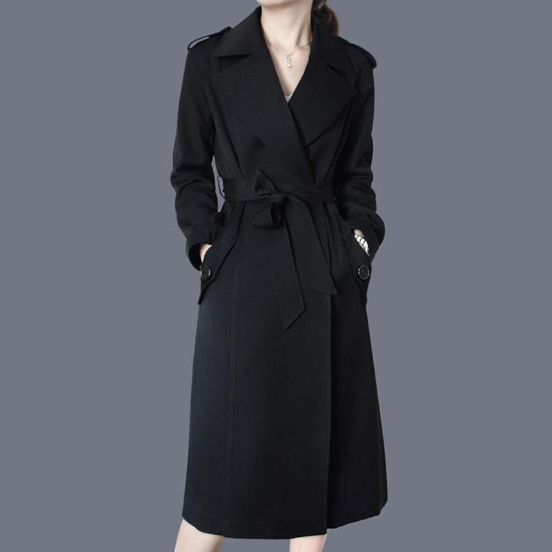 女士风衣 女士风衣外套中长款2020春秋冬新款女装黑色大码收腰显瘦休闲气质_推荐淘宝好看的女士风衣