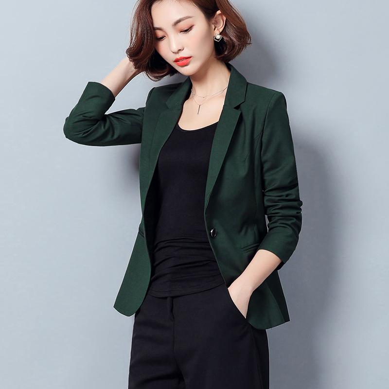 绿色小西装 2021春秋新款小西装外套修身长袖休闲西服职业时尚墨绿色女士上衣_推荐淘宝好看的绿色小西装