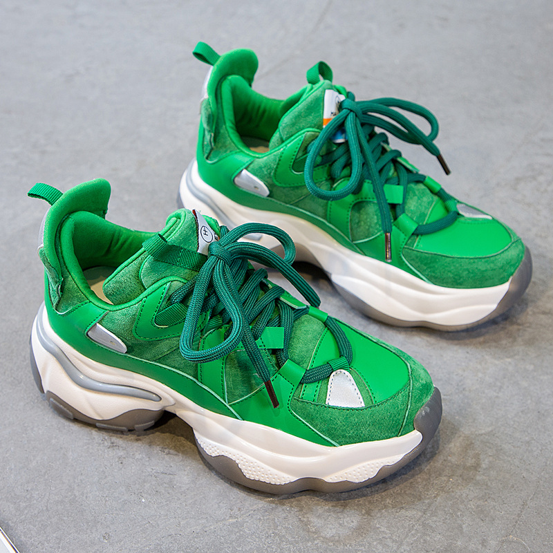 绿色运动鞋 绿色老爹鞋女ins潮网红真皮百搭拼色系带厚底底运动鞋女式休闲鞋_推荐淘宝好看的绿色运动鞋