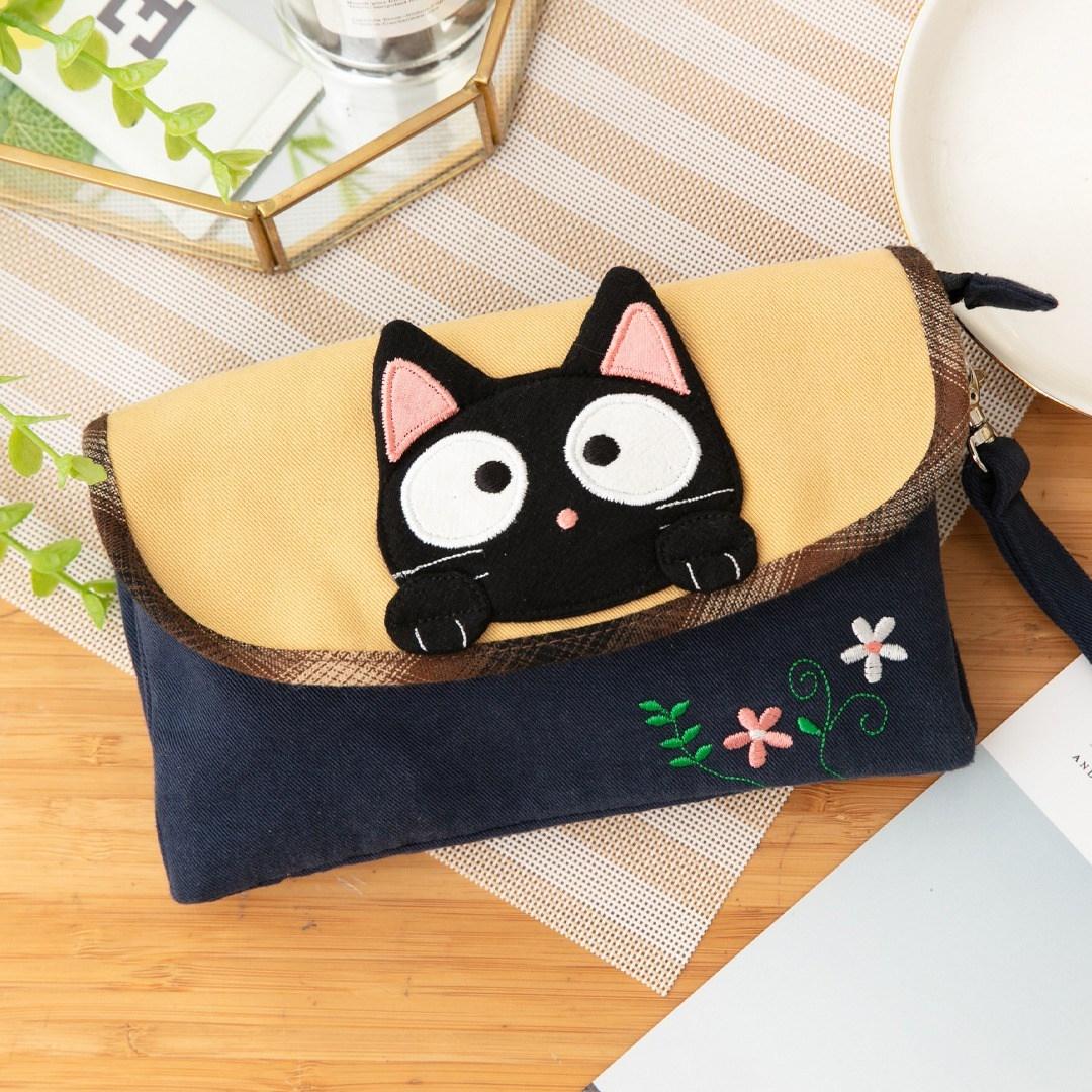糖果包包 新款台湾奇乐猫手机袋卡通帆布糖果拉链休闲手机包小手拿包222868_推荐淘宝好看的糖果包