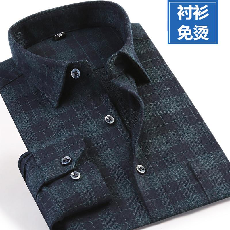 男士格子衬衫 春季新款男长袖纯棉磨毛格子商务衬衫宽松加肥加大码中年父亲衬衣_推荐淘宝好看的男格子衬衫