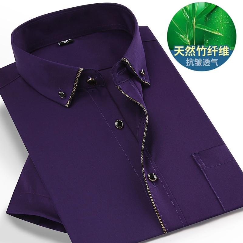 男式衬衫 夏季纯色男士竹纤维短袖加大码衬衣加肥寸衫肥佬免烫高端正装衬衫_推荐淘宝好看的男衬衫
