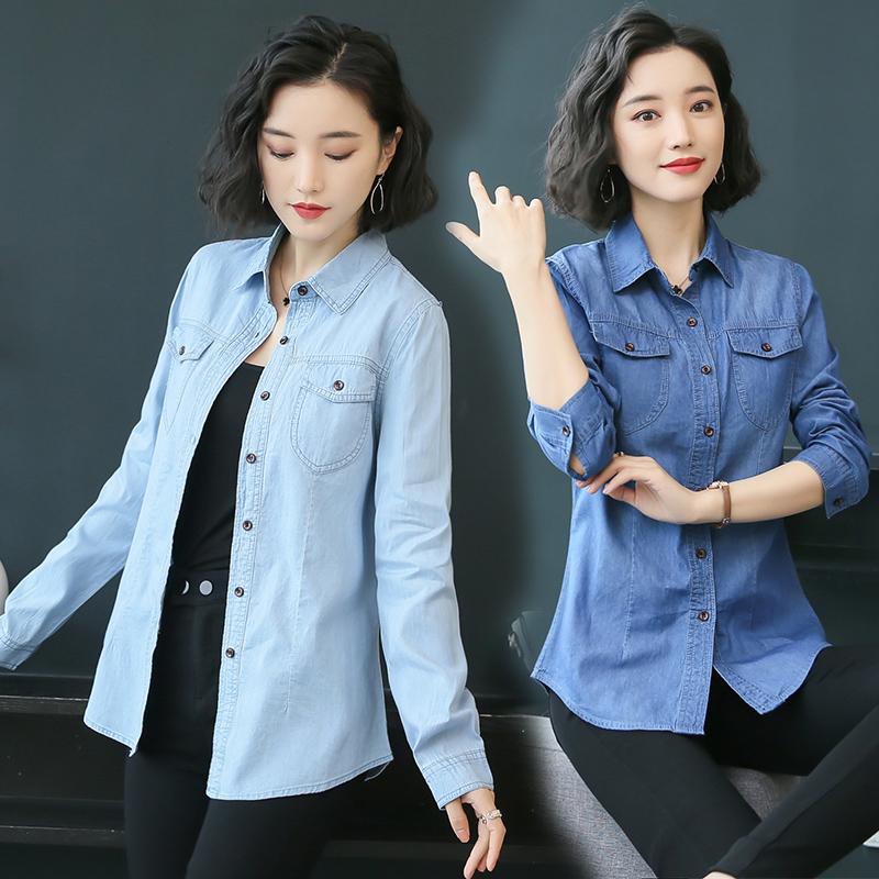 牛仔衬衣 牛仔衬衫女长袖2021春装新款韩版休闲上衣小清新 打底衬衣外套_推荐淘宝好看的女牛仔衬衣