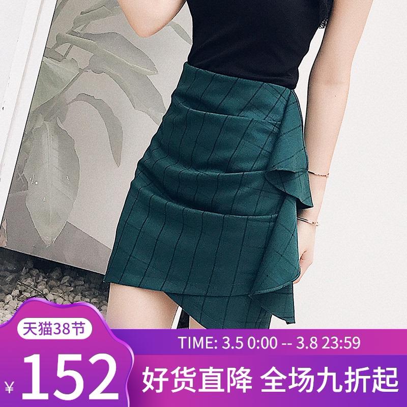 半身裙子 绿色短裙女夏2021新款裙子性感高腰显瘦包臀紧身一步裙格子半身裙_推荐淘宝好看的半身裙子