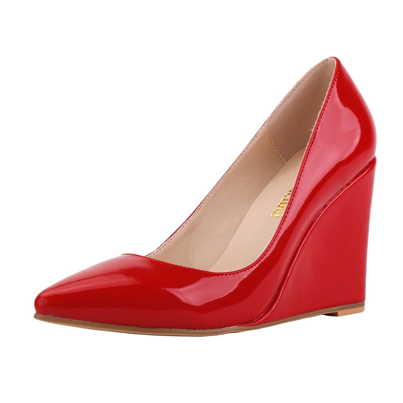 白色高跟单鞋 10厘米坡跟高跟鞋大码女鞋40-41-42尖头漆皮白色黑色坡跟单鞋百搭_推荐淘宝好看的女白色高跟单鞋