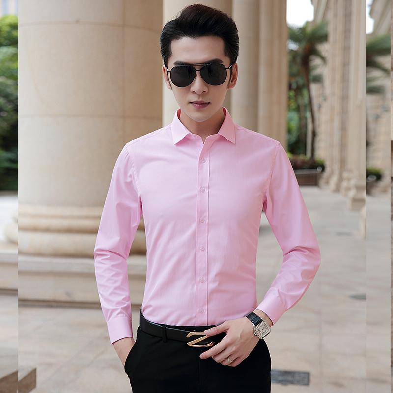 粉红色衬衫 男士长袖衬衫粉红色结婚新郎衬衣商务休闲韩版修身伴郎寸衫男礼服_推荐淘宝好看的粉红色衬衫