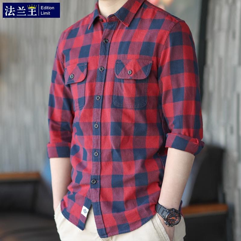 红色衬衫 红色格子衬衫男长袖青少年纯棉休闲衬衣服chic韩风修身外套寸_推荐淘宝好看的红色衬衫