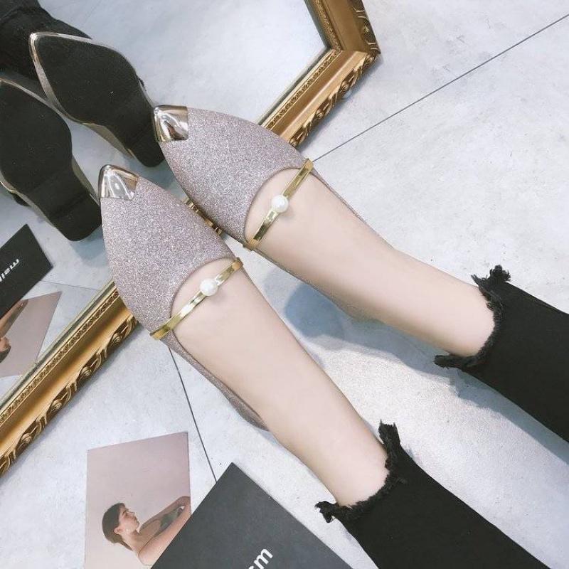 韩版尖头鞋 B秋季新款女鞋低跟尖头浅口女单鞋韩版时尚套脚显瘦学生平底鞋62_推荐淘宝好看的女韩版尖头鞋