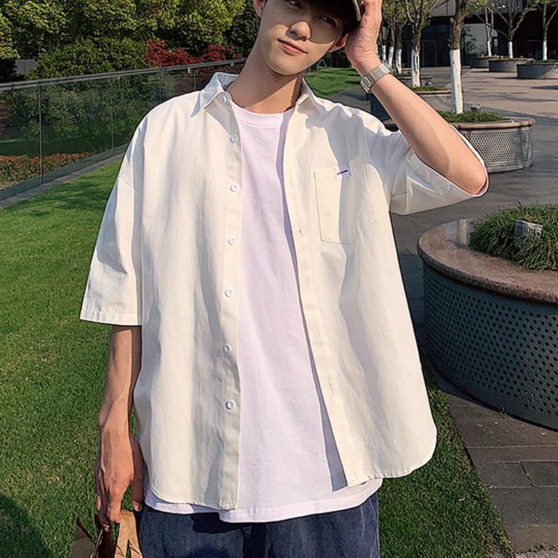 黄色衬衫 2020夏季短袖衬衫男士五分袖衬衣韩版潮流帅气白衬衫半袖上衣外套_推荐淘宝好看的黄色衬衫