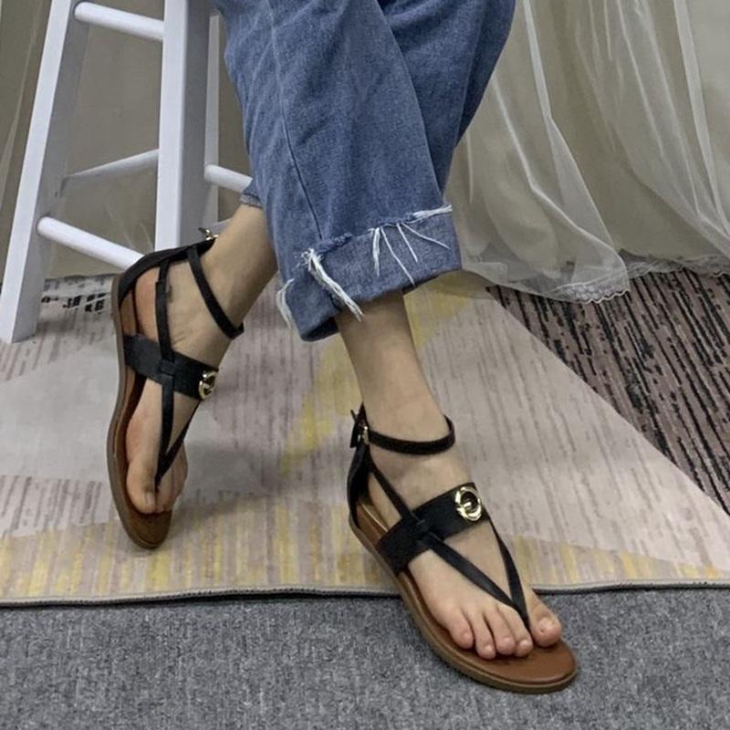 罗马平底鞋 外贸原单女鞋平底夹趾简约风后拉链罗马凉鞋_推荐淘宝好看的女罗马平底鞋