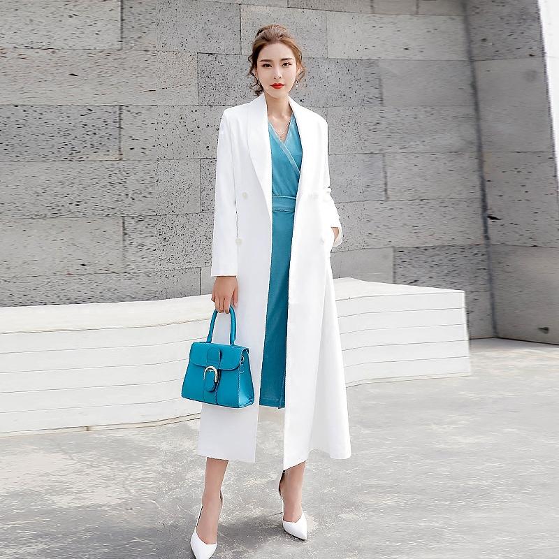 白色风衣 白色风衣女中长款2020新款春秋季流行气质过膝收腰洋气西装外套女_推荐淘宝好看的白色风衣