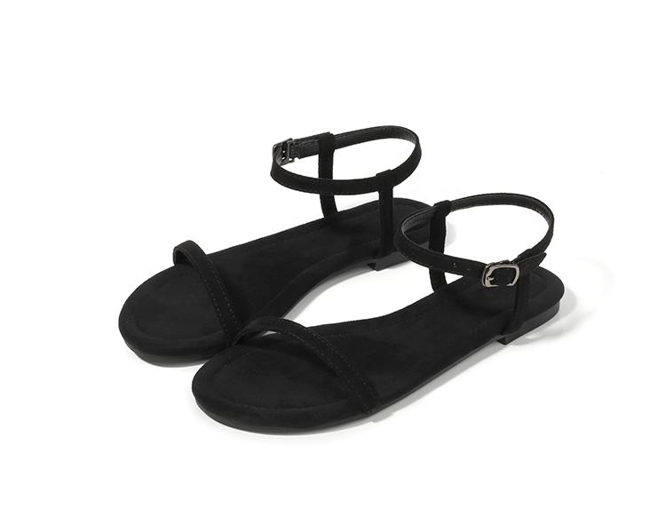 黑色鱼嘴鞋 夏季欧美新款凉鞋女黑色一字细带平底学生简约露趾平跟女鞋hm2020_推荐淘宝好看的黑色鱼嘴鞋