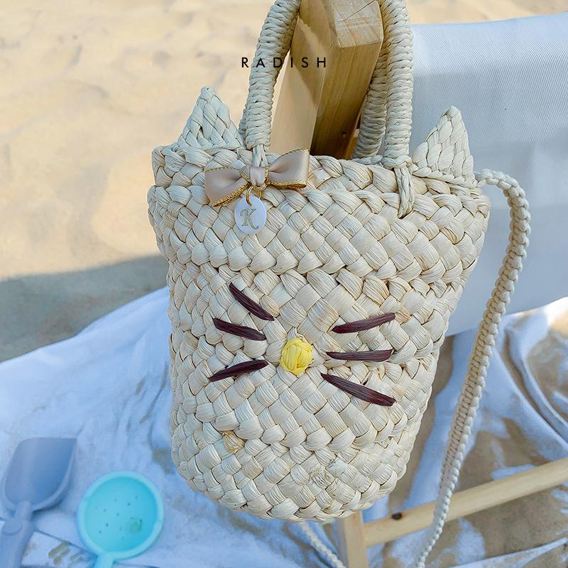 猫咪草编包 刺绣猫咪图案可爱斜挎草编手提包贝壳个性斜跨包沙滩包_推荐淘宝好看的猫咪草编包