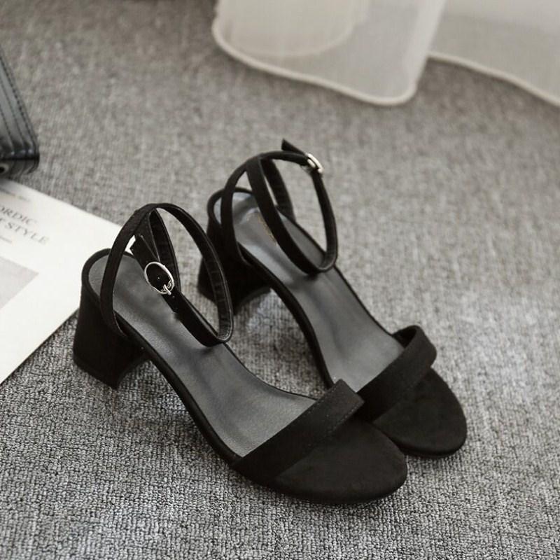 黑色鱼嘴鞋 2020夏粗跟一字扣带露趾高跟5cm凉鞋女学生低跟中跟黑色3cm小码32_推荐淘宝好看的黑色鱼嘴鞋