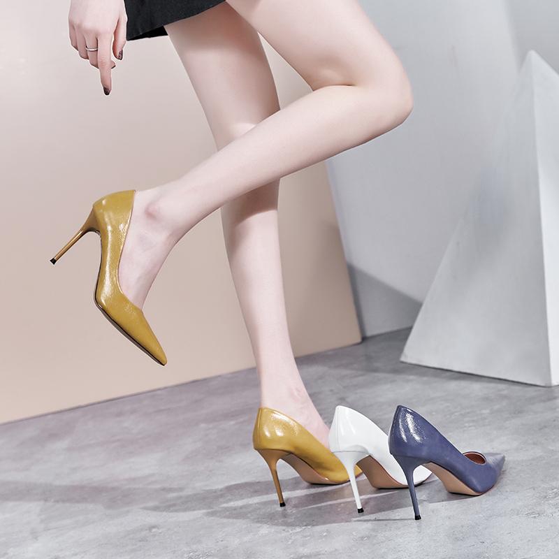 黄色尖头鞋 白色高跟鞋2020新款 百搭浅口单鞋女细跟性感礼仪黄色尖头高跟鞋_推荐淘宝好看的黄色尖头鞋