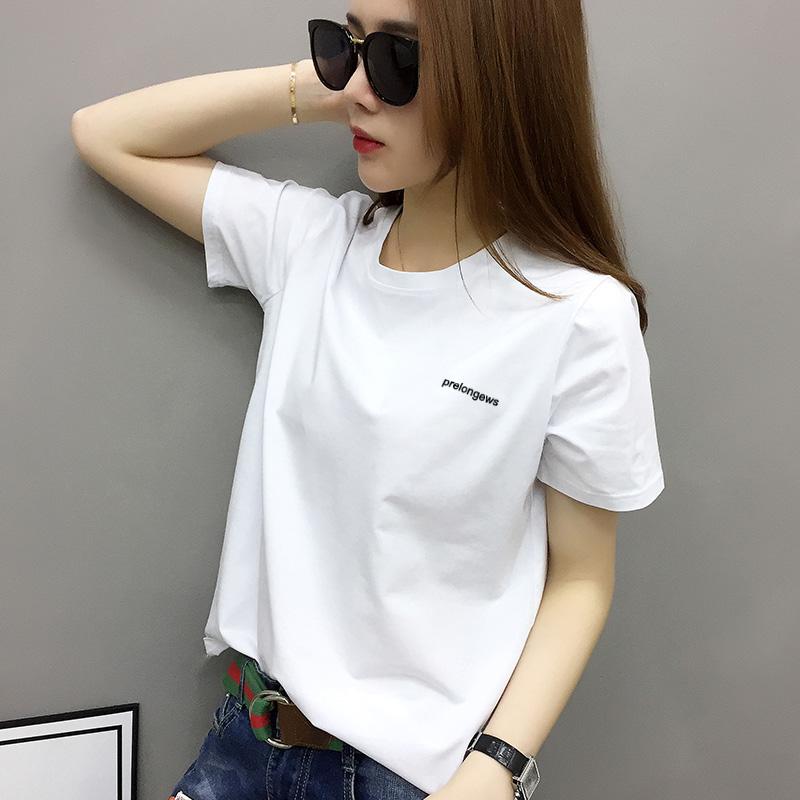 白色T恤 欧洲站女装2021年新款欧货潮白色t恤女短袖纯棉宽松打底衫内搭夏_推荐淘宝好看的白色T恤