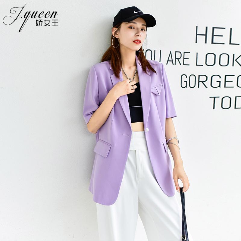 紫色小西装 短袖西装外套女夏薄款新款韩版宽松显瘦垂感休闲高级感紫色小西服_推荐淘宝好看的紫色小西装
