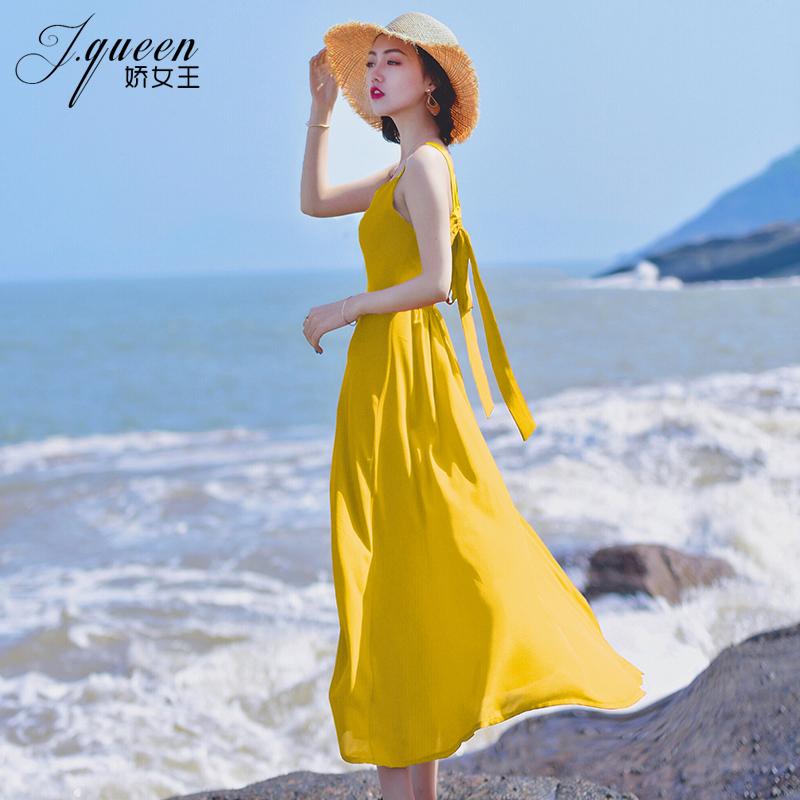 黄色连衣裙 黄色沙滩裙女夏2021海边度假雪纺无袖吊带连衣裙性感露背超仙长裙_推荐淘宝好看的黄色连衣裙