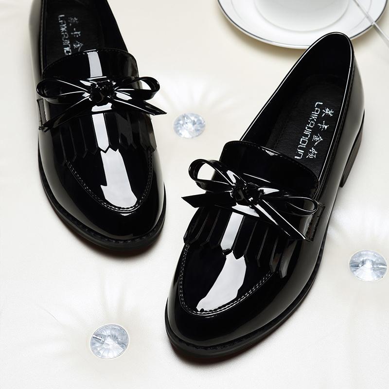 黑色豆豆鞋 小皮鞋女英伦2020秋季小香风软皮黑色单鞋平底粗跟韩版女jk豆豆鞋_推荐淘宝好看的黑色豆豆鞋