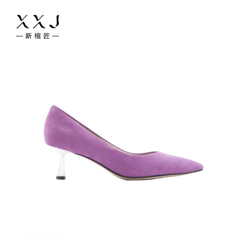 紫色高跟鞋 紫色尖头高跟鞋女2019秋冬绒面百搭细跟韩版浅口日常中跟工作单鞋_推荐淘宝好看的紫色高跟鞋