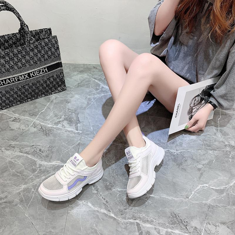 紫色松糕鞋 2021年夏季新款爆款休闲鞋小众松糕底女款圆头百搭紫色韩版运动鞋_推荐淘宝好看的紫色松糕鞋