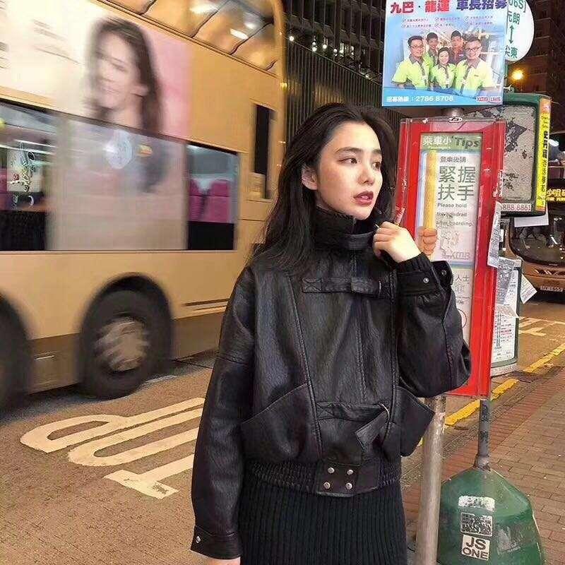 韩版皮衣 2020秋冬款韩版女装短款皮衣PU皮夹克女宽松外套_推荐淘宝好看的女韩版皮衣