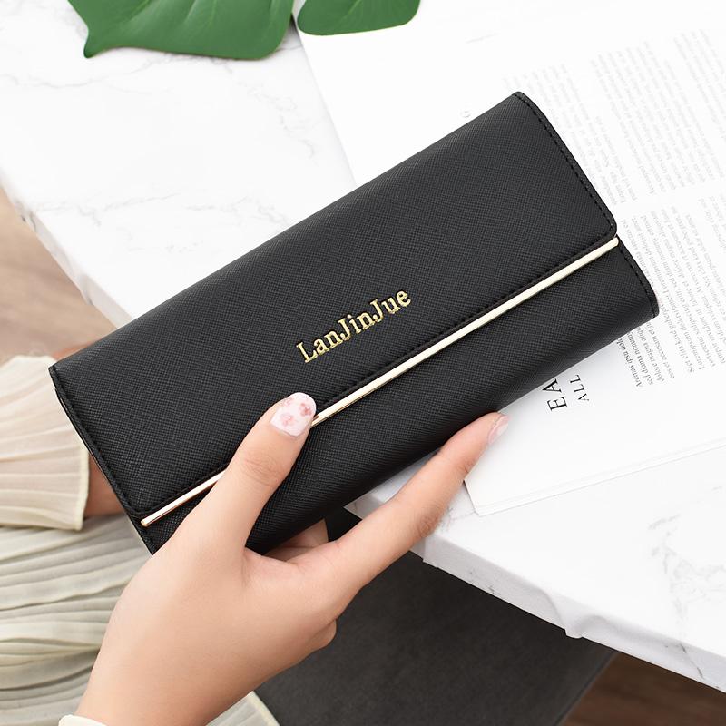 绿色手拿包 2020新款时尚女士钱包女长款女式简约大气折叠夹子女款手拿包钱夹_推荐淘宝好看的绿色手拿包