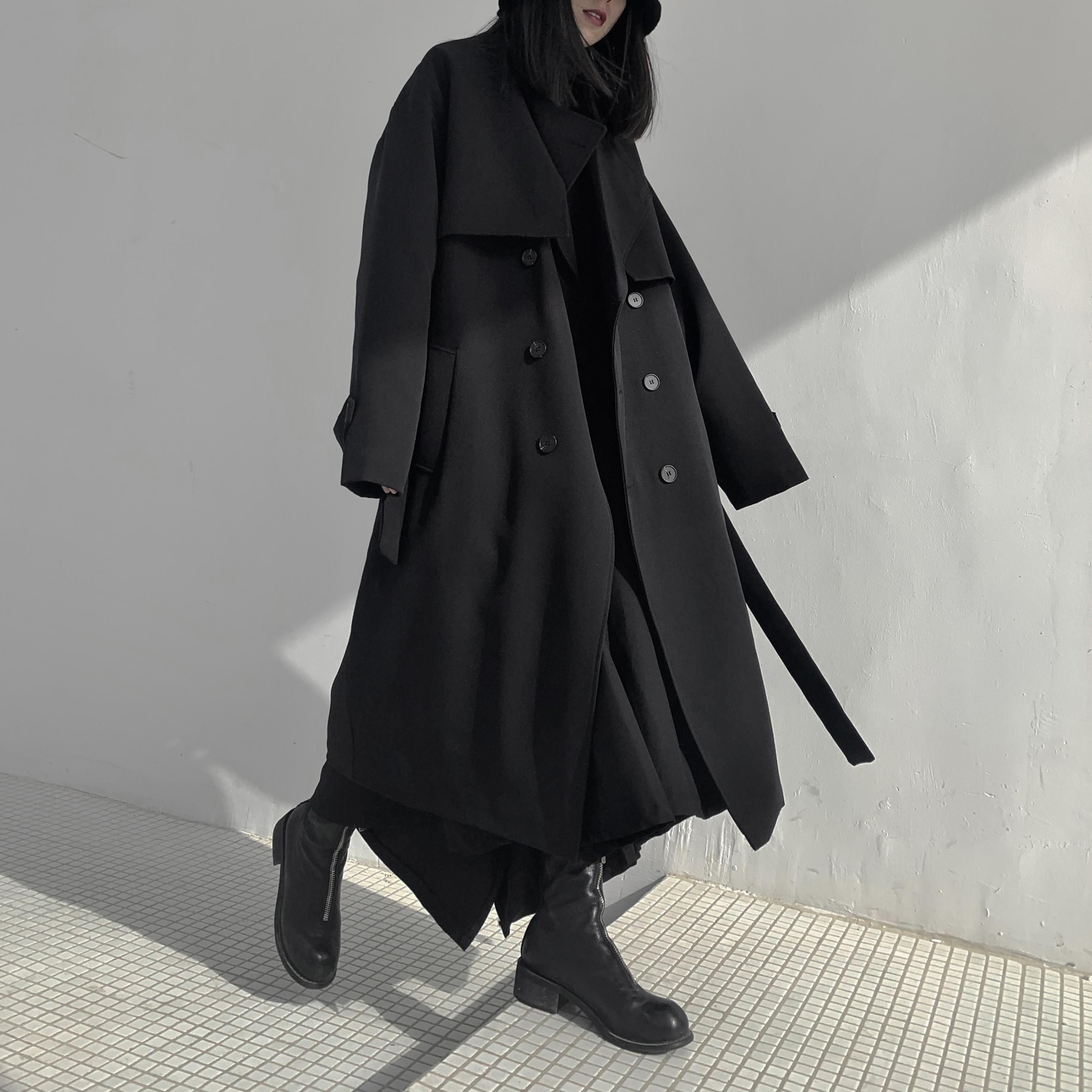 黑色风衣 冬季新品山本暗黑系小众设计师长款夹棉风衣外套棉服加厚黑色女装_推荐淘宝好看的黑色风衣