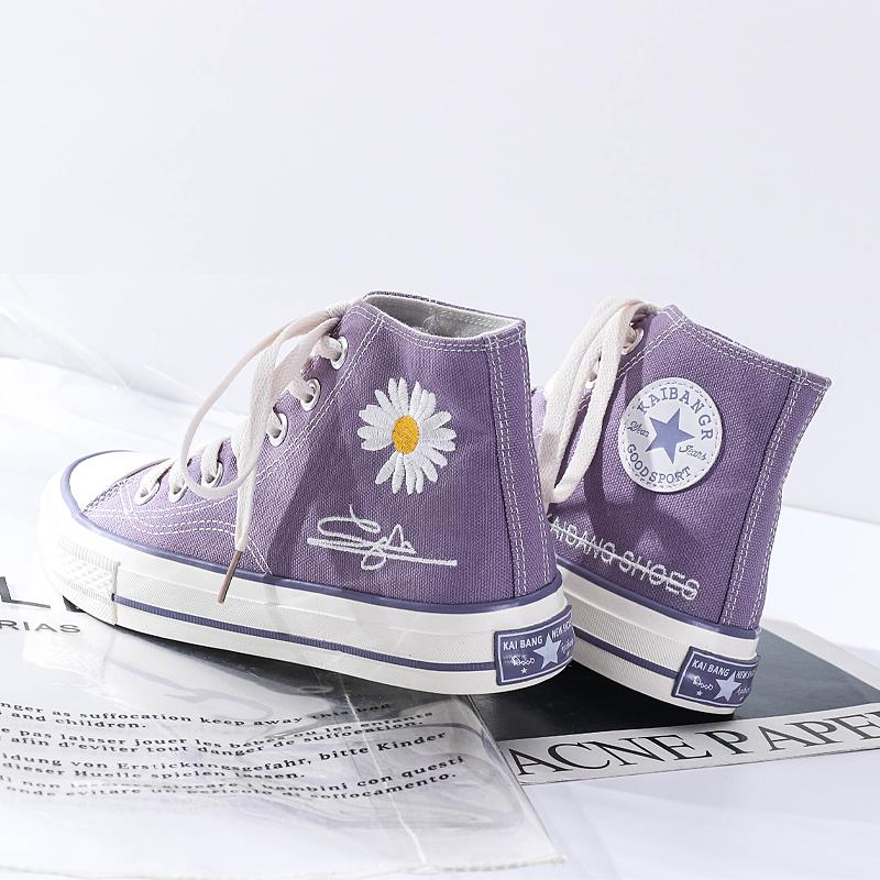 紫色高帮鞋 高帮帆布鞋2020秋季新款ulzzang百搭女鞋学生休闲紫色小雏菊板鞋_推荐淘宝好看的紫色高帮鞋