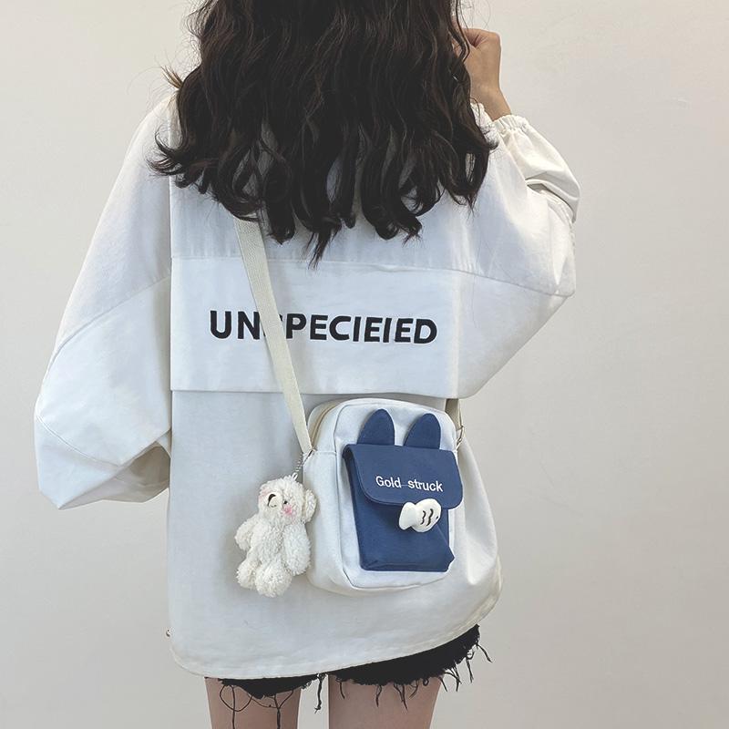 韩版帆布包 网红小包包女2020新款潮韩版可爱斜挎包女百搭ins学生少女帆布包_推荐淘宝好看的女韩版帆布包