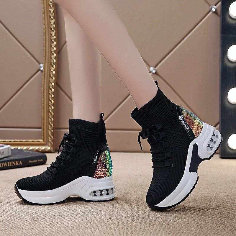 女士坡跟鞋 内增高短靴2020春夏新款坡跟女鞋厚底马丁靴单靴弹力袜子靴老爹鞋_推荐淘宝好看的女坡跟鞋