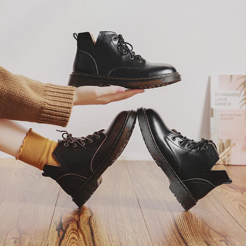 英伦短靴 伯爵猫马丁靴女英伦风复古机车短靴真皮黑色帅气平底学生ann靴子_推荐淘宝好看的女英伦短靴