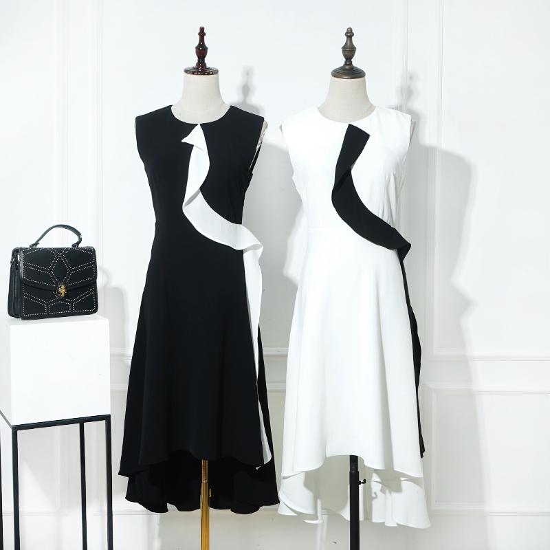 白色无袖连衣裙 Z9042355夏季新款撞色外搭木耳边不规则下摆无袖连衣裙_推荐淘宝好看的白色无袖连衣裙