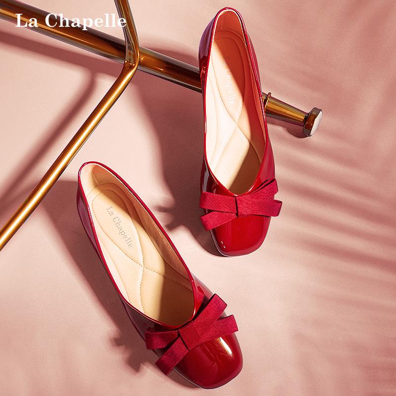 红色平底鞋 拉夏贝尔红色单鞋女鞋2020新款蝴蝶结百搭玛丽珍浅口圆头平底鞋子_推荐淘宝好看的红色平底鞋