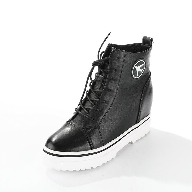 短靴 红蜻蜓女鞋新款系带休闲厚底舒适女短靴专柜正品全国保修C728913G_推荐淘宝好看的女短靴