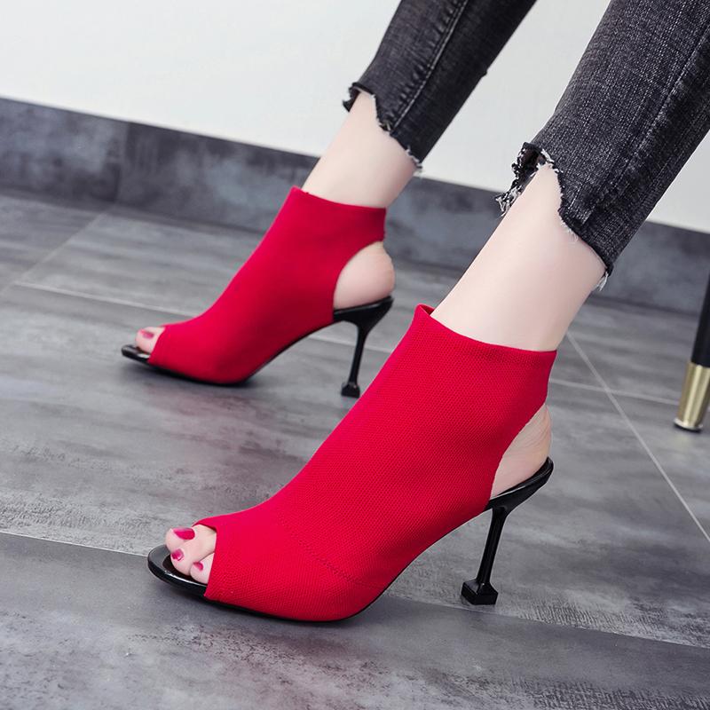 红色鱼嘴鞋 鱼嘴罗马凉靴2019夏季新款欧美百搭网红高跟红色弹力针织细跟凉鞋_推荐淘宝好看的红色鱼嘴鞋