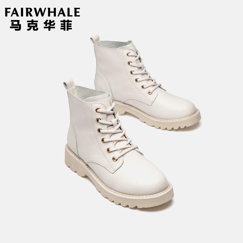 白色靴子 马克华菲靴子帅气白色马丁靴女英伦风2019新款百搭真皮系带短靴秋_推荐淘宝好看的白色靴子