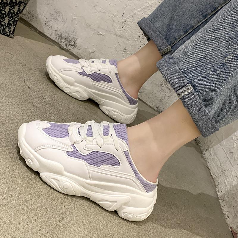 紫色松糕鞋 包头半拖鞋女紫色外穿无后跟2021新款网面厚底松糕老爹鞋女ins潮_推荐淘宝好看的紫色松糕鞋