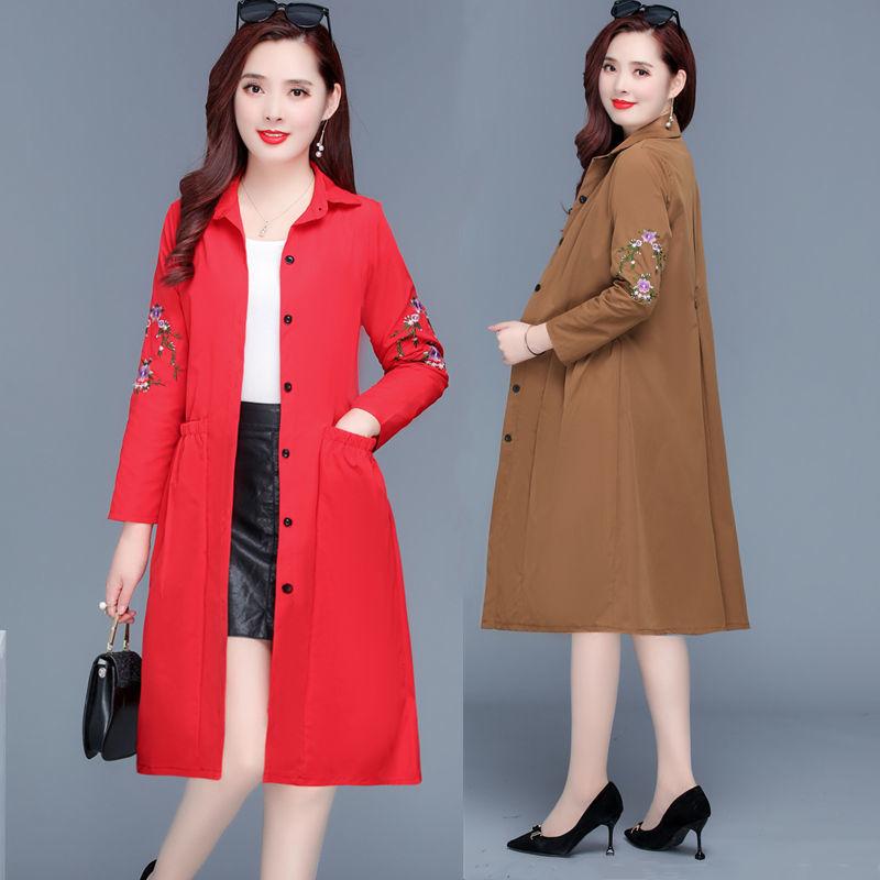 红色风衣 3  新款风衣女中长款上衣韩版春秋季洋气大码薄款外套女网红爆款_推荐淘宝好看的红色风衣