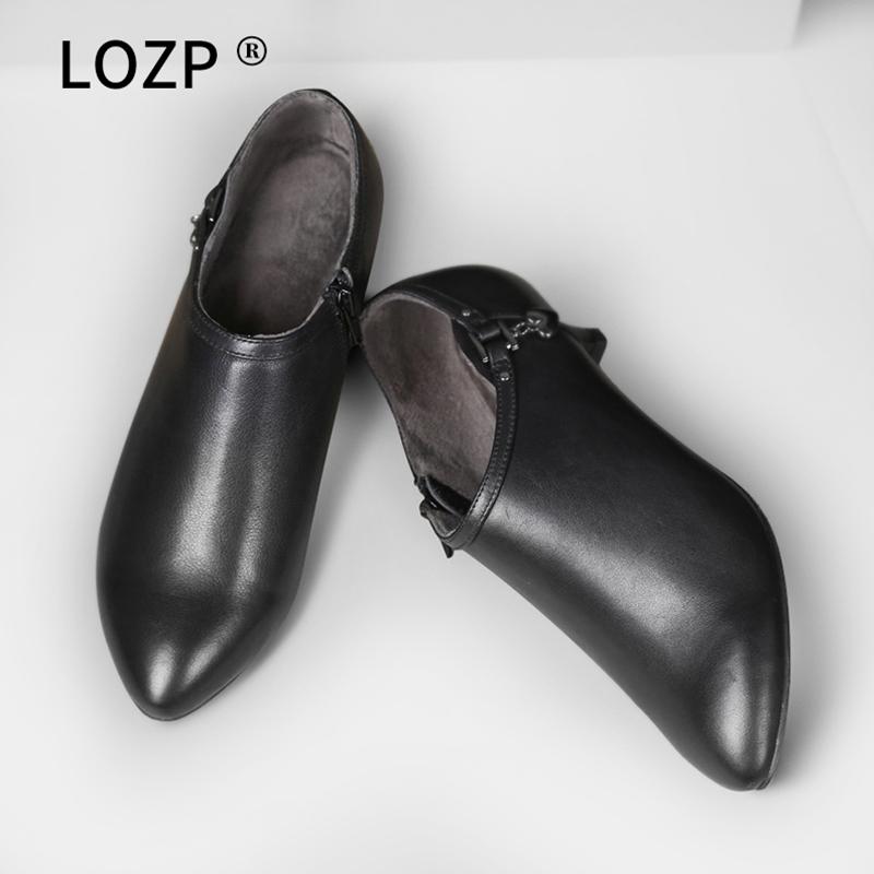 黑色单鞋 秋冬季真皮低跟深口单鞋女中跟上班工作鞋黑色高跟皮鞋及裸靴踝靴_推荐淘宝好看的黑色单鞋