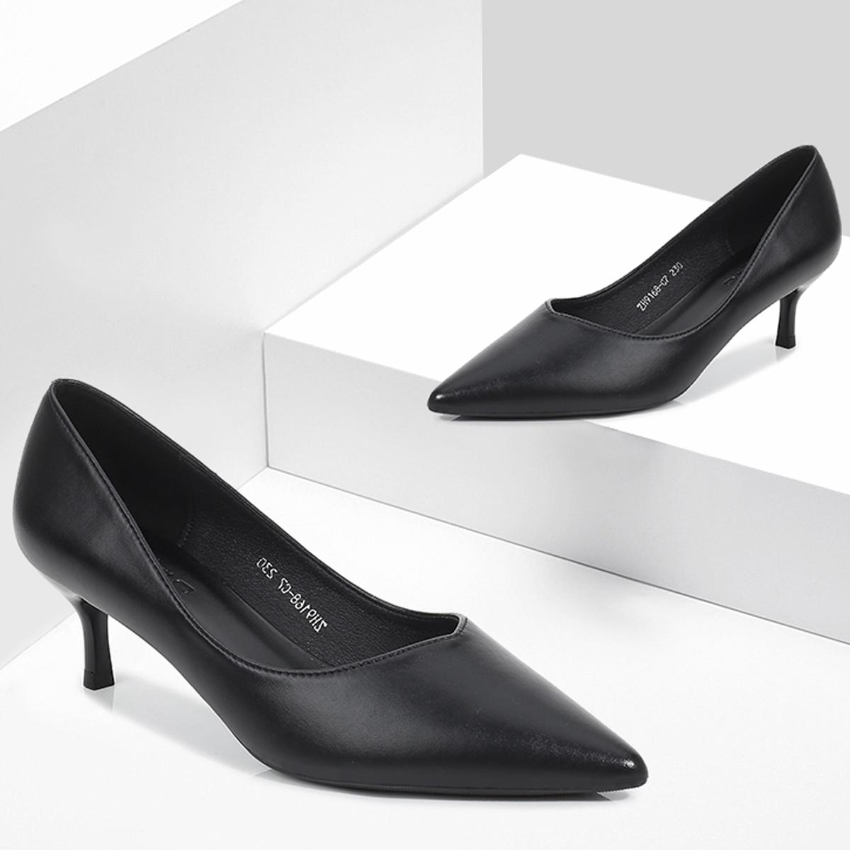 黑色高跟鞋 高跟鞋软皮百搭细跟平底单鞋尖头5cm中跟3cm低跟职业女黑色工作鞋_推荐淘宝好看的黑色高跟鞋