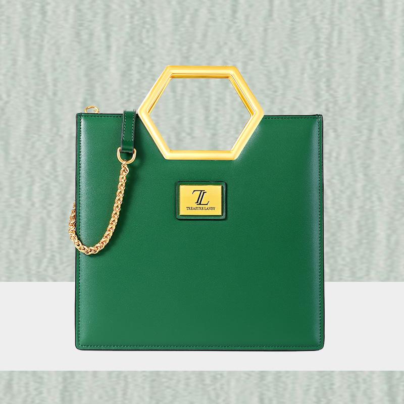 绿色手提包 宝兰妮轻奢品牌女包2021夏季新款时尚真皮手提斜挎包大牌绿色包包_推荐淘宝好看的绿色手提包