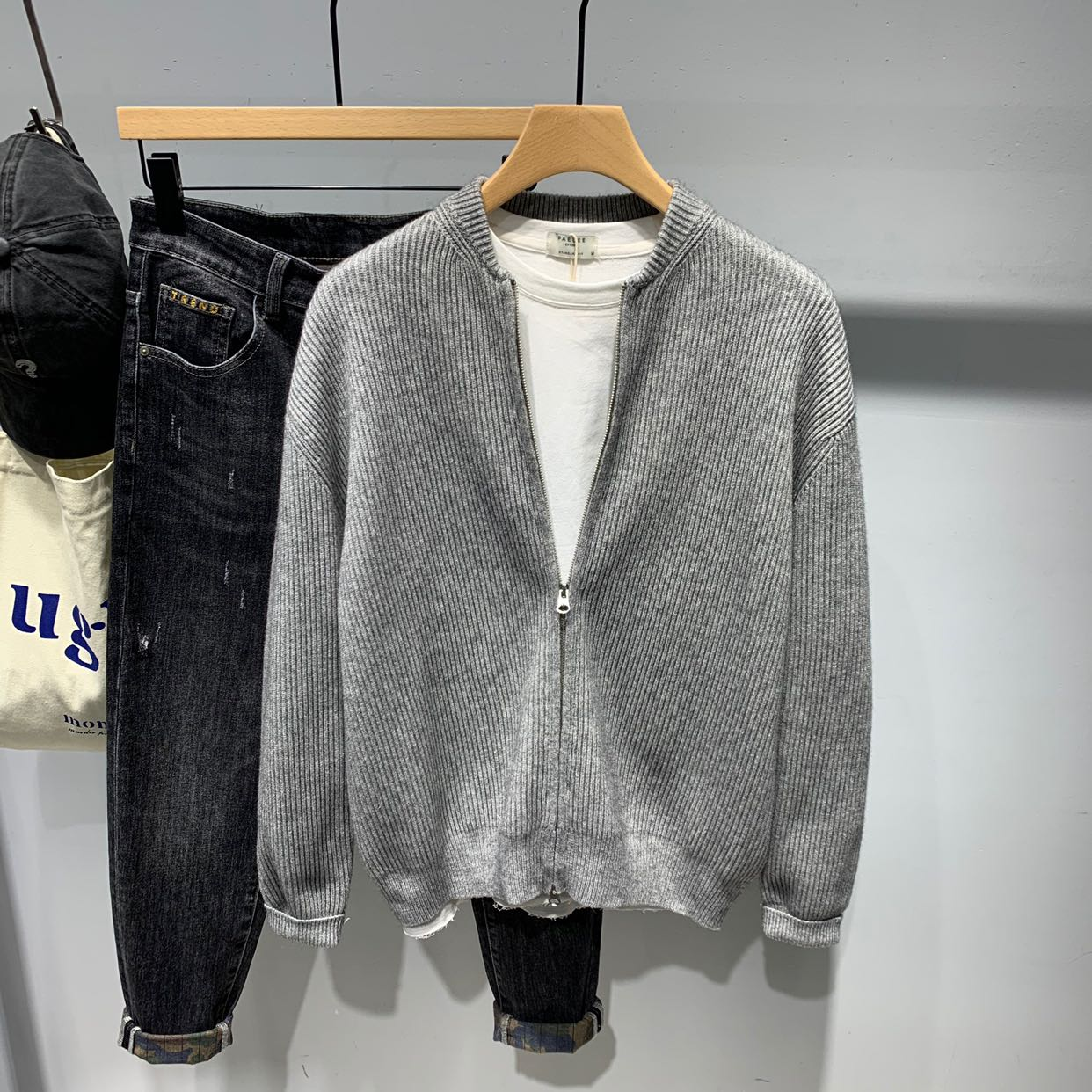 针织夹克 2021春季新款男士纯色休闲针织开衫夹克韩版棒球领潮流百搭外套男_推荐淘宝好看的男针织夹克