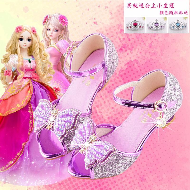 紫色鱼嘴鞋 女童凉鞋小公主紫色鱼嘴凉鞋2020夏季新款儿童高跟鞋女孩子水晶鞋_推荐淘宝好看的紫色鱼嘴鞋